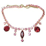 DROP Garnet to Ruby Red & PINK Glass Rhinestones Necklace Gold Tone Chain