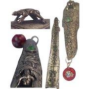 Lotus Oriental Nail Guard Frog Jeweled Dangle Glass Bead Vintage Art Nouveau Style Silver Tone Asian