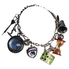 Game Sports Sterling Silver Charm Bracelet Water Ski Football Basketball Dart Gaming Lucite Dice