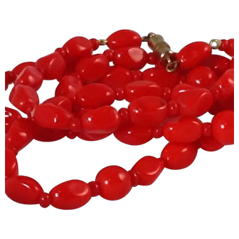 Scarlet Red Necklace Long  Glass Rolled Beaded Very Bright!