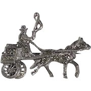Horse Carriage Pin Marcasite Top Hat Cart Figural Man Brooch Silver Tone