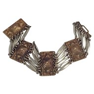 Silver Mexico Bracelet Egyptian Revival Ornate Link Brass Work Wide Mexican
