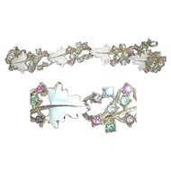 Leaf Vine Coro Bracelet Pastel Glass Rhinestone White Enamel Signed Pink Blue Purple Green