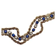 True Royal Blue Split Rope Chain Bracelet Glass Diamond Rhinestone Gold Tone