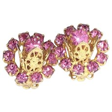 3D Pink Tulip Earrings Crystal Rhinestone Gold Tone Beaded Leaf Clips