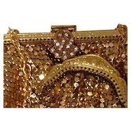 2 Mesh Purse and Coin Rose & Gold Tone Metal Paste Glass Diamond Rhinestone Art Deco Style