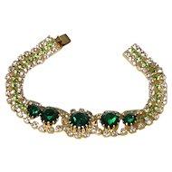 Dripping Jeweled Bracelet Emerald Green & Clear Diamond Glass Rhinestones