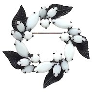 Very Cool Black Enamel Pin Leaf Scroll White Glass Rhinestone Brooch