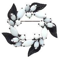 Very Cool Black Enamel Pin Leaf Scroll White Glass Rhinestone Brooch