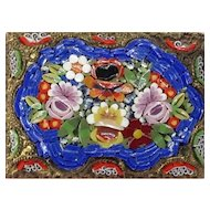 Flowers in Water Pond Micro Mosaic Pin Lily Daisy Iris Italy Etruscan Style Metal