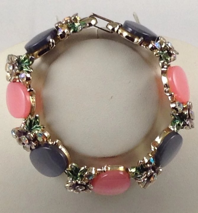 Year Around Moon Glow Pink Grey Enamel Bracelet Thermoset Flower Leaf Signed
