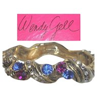 Wendy Gell Bracelet Blue Pink Rhinestone Ocean Sea Gold Tone Cuff Bangle