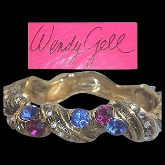 Wendy Gell Bracelet Blue Pink Rhinestone Ocean Sea Gold Tone Cuff Bangle