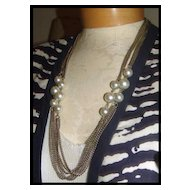 "54"" Rope Length Silver Tone Metal Chain & Faux Pearls Necklace"