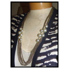 """54"""" Rope Length Silver Tone Metal Chain & Faux Pearls Necklace"""