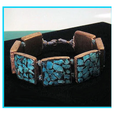 Vtg Inlaid Turquoise Mosaic Square Panel Bracelet