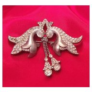 Charming Pot Metal Pave Rhinestone Lily Brooch with Dangles