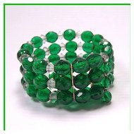 Faceted Green Beaded Memory Wire Bracelet