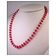 Ruby Red Crystal Bicone Necklace