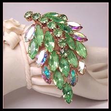 Peridot Green & Aurora Borealis Rhinestone Brooch