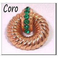 Coro Emerald Green Rhinestone Brooch