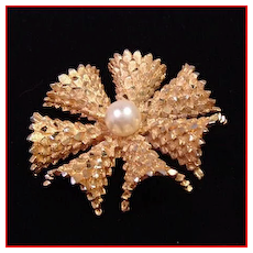 BSK Faux Pearl & Textured Gold Tone Pinwheel Brooch