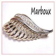 Marboux Art Moderne Design Rhinestone Brooch
