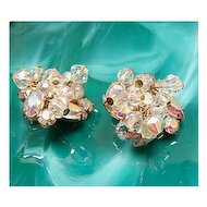 AB Rhinestone & Crystal Dangles Cha Cha Earrings