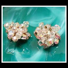 AB Rhinestone & Crystal Dangles Cha Cha Earrings