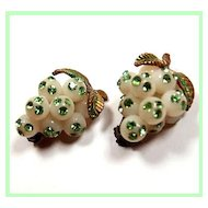 Green Rhinestone Lucite Grape Cluster Earrings