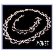 Monet Silvertone Link Necklace & Bracelet Set