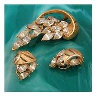 Clear Marquis Rhinestone Brooch & Earring Set