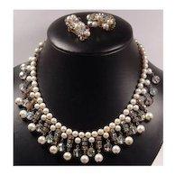 Kramer Faux Pearl Rhinestone & Crystals Bib Necklace & Earring Set