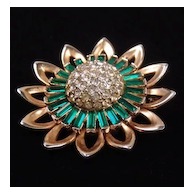 Green Baguette & Pave Rhinestone Flower Pendant Brooch