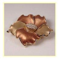 Golden Enamel Flower Pendant Brooch