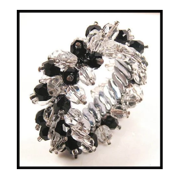 Black & Clear Crystal Cha Cha Expansion Bracelet