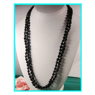"""48"""" Vintage Faceted Black Glass Bead Necklace"""