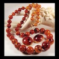 Kenneth Lane Earrings & Mottled Lucite Bead Necklace