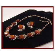 Coro Carmel Brown Thermoset & Fern Leaves Necklace & Earring Set