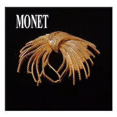Monet Large Gold-tone Textured Stylized Bow Brooch