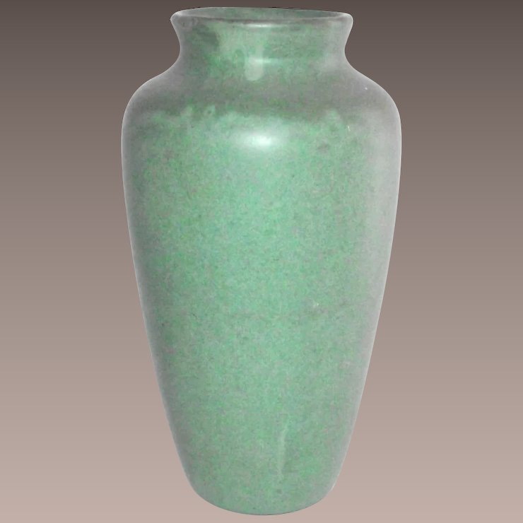 Arts And Crafts Matte Green Tall Vase By Zanesville Stoneware Item