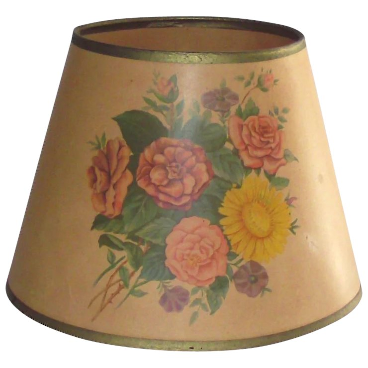 1940s parchment paper table lamp shade with flowers printed on 1940s parchment paper table lamp shade with flowers printed on paper aloadofball Choice Image