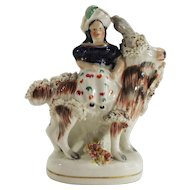 Antique 19th Century Staffordshire Figurine, Girl on Goat