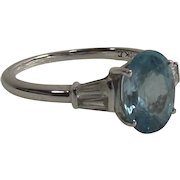 Vintage 10 Kt White Gold Blue and White Zircon 2.82 Ct. Ring