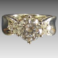 Vintage Large Round Cz Ring set in Sterling