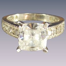 Vintage Large Princess Cut Cz Ring set in Sterling