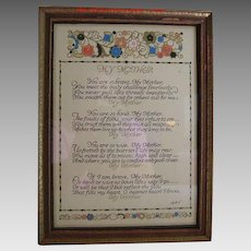 Vintage Mother Motto in Period Frame  Artist Sgnd MAH