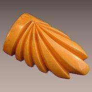 Vintage Butterscotch Bakelite Dress or Fur Clip Deeply Carved