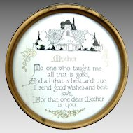 Vintage Art Deco Mother Motto 1920's Small Round Framed