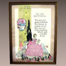 """Vintage Art Deco Mother Motto Print """"To My Mother"""""""